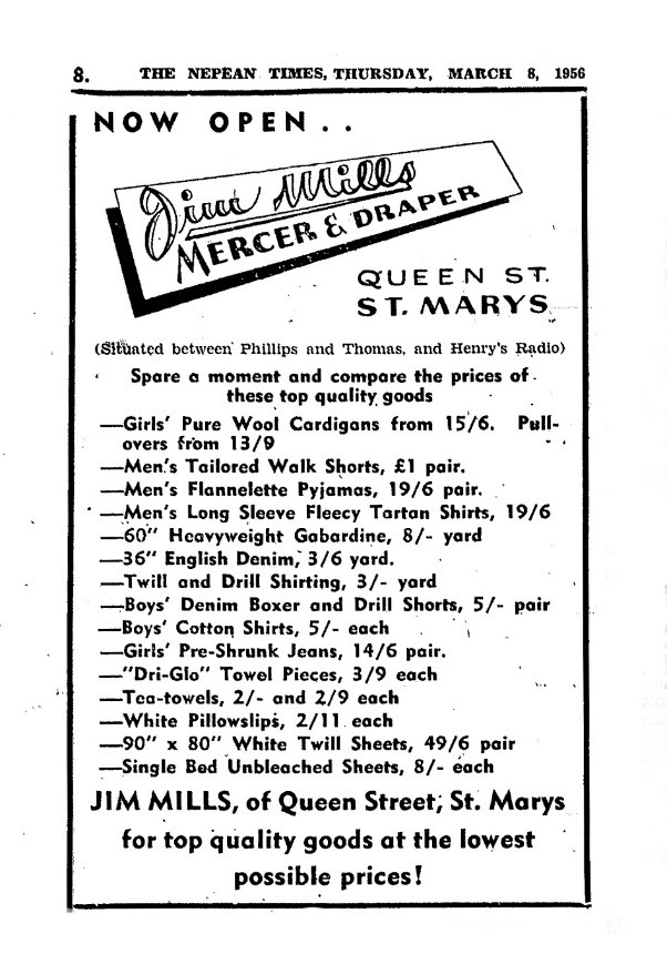 Jim Mills Newspaper Advertisement